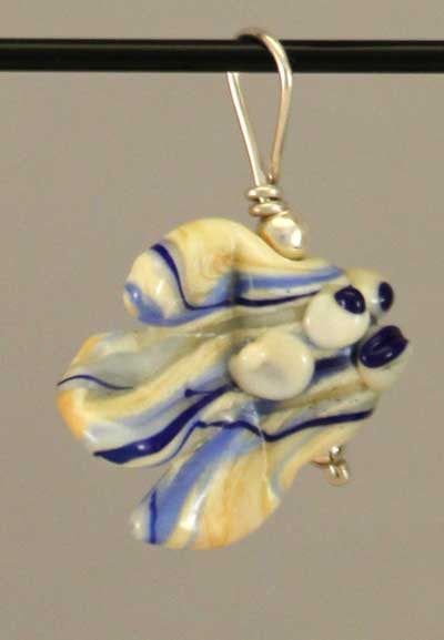 Blue & White Fishy Bead Pendant