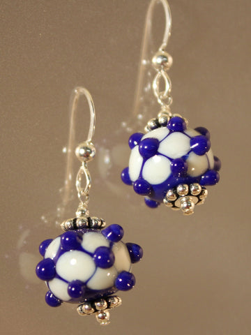 Blue Net bead Earrings.