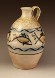 Wood fired fish decorated jug