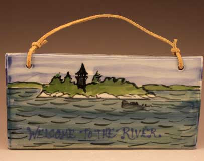 Welcome to the River tile with Calumet Island