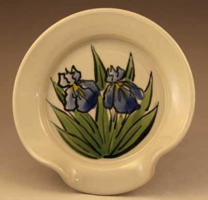 Spoon Rest with Blue Iris