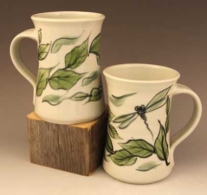 Medium Mug in Green Ivy Dragonfly pattern