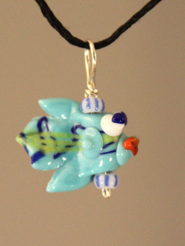 Blue Fishy Bead Pendant