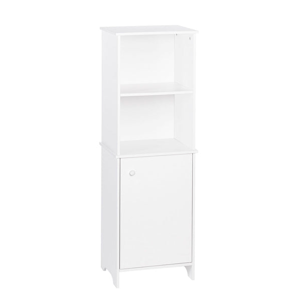 white bathroom floor cabinet with shelves