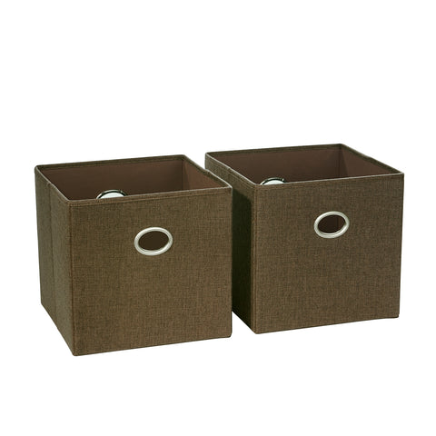 Two-Piece Folding Storage Bins with Woven Fabric