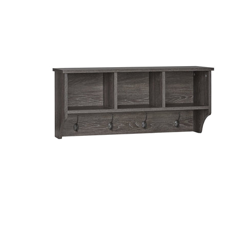 Woodbury Wall Shelf with Cubbies and Hooks