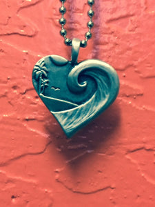 Surf Pendant: Heart & Wave