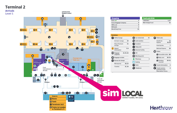 SIM Local Terminal 2 Heathrow