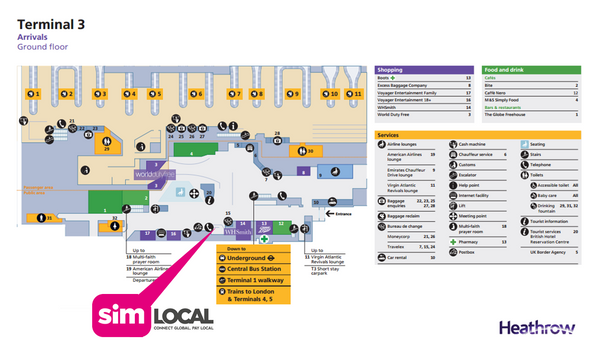 SimLocalHeathrow Airport FREE Pickup Locations and Opening