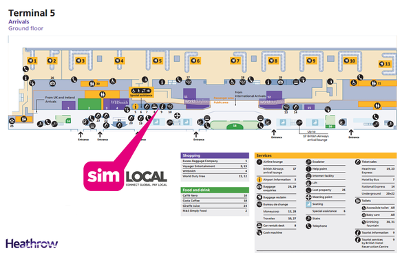 Sim Local Terminal Five Heathrow