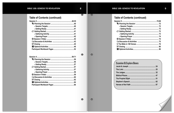 Bible 100 Ldr Guide Table of Contents Sample