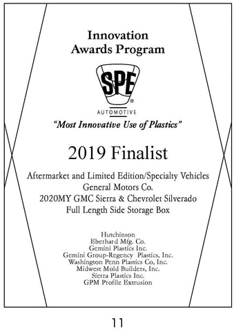 11 Aftermarket & Limited Edition/Specialty Vehicles:  Full Length Side Storage Box - 2019 Finalist