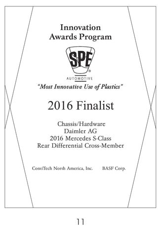11 Chassis/Hardware:  Rear Differential Cross-Member - 2016 Finalist