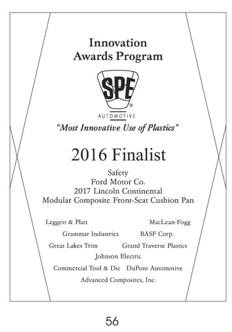 56 Safety:  Modular Composite Front-Seat Cushion Pan - 2016 Finalist