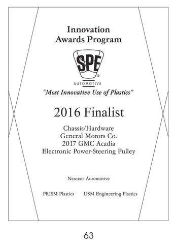 63 Chassis/Hardware:  Electronic Power-Steering Pulley - 2016 Finalist