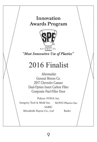 9  Aftermarket:  Dual-Option Insert Carbon Fiber Composite Fuel-Filler Door - 2016 Finalist