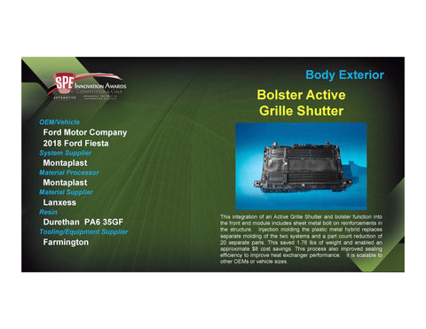 BE: Bolster Active Grille Shutter - 2017 Foam Board Plaque