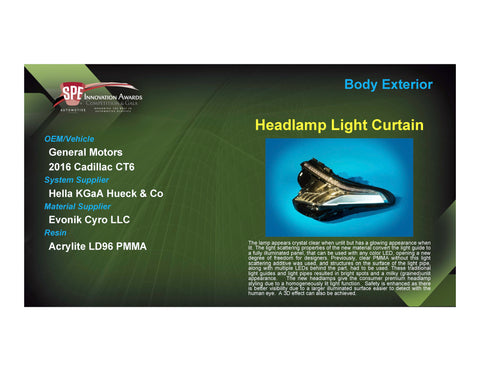 BE: Headlamp Light Curtain - 2017 Foam Board Plaque