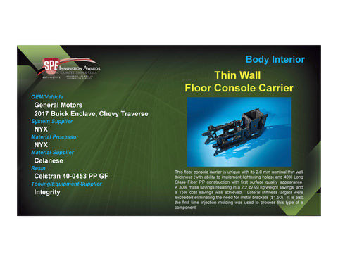 BI: Thin Wall Floor Console Carrier - 2017 Foam Board Plaque