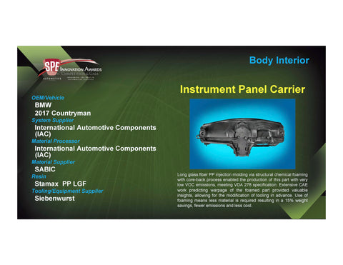 BI: Instrument Panel Carrier - 2017 Foam Board Plaque