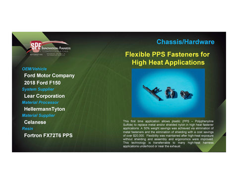 C/H: Flexible PPS Fasteners for High Heat Applications - 2017 Foam Board Plaque