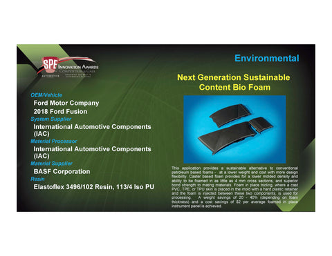 ENV: Next Generation Sustainable Content Bio Foam - 2017 Foam Board Plaque