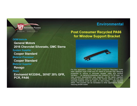 ENV: Post Consumer Recycled PA66 for Window Support Bracket - 2017 Foam Board Plaque