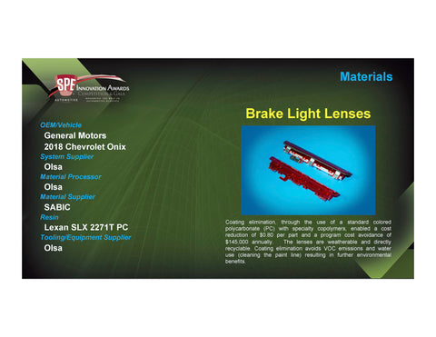 MAT: Brake Light Lenses - 2017 Foam Board Plaque