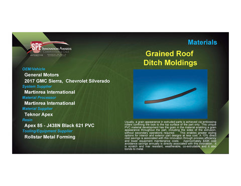 MAT: Grained Roof Ditch Moldings - 2017 Foam Board Plaque