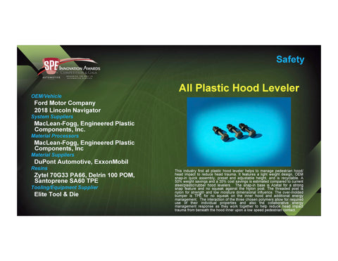 Safety: All Plastic Hood Leveler - 2017 Foam Board Plaque