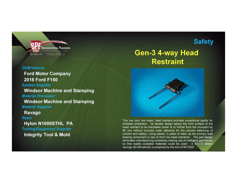 Safety: Gen-3 4-Way Head Restraint - 2017 Foam Board Plaque