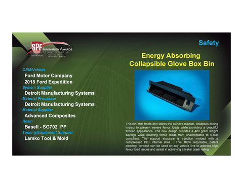 Safety: Energy Absorbing Collapsible Glove Box Bin - 2017 Foam Board Plaque