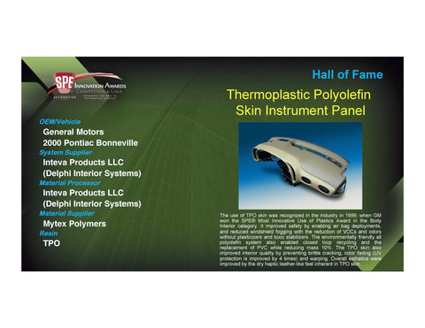 Hall of Fame: Thermoplastic Polyolefin Skin Instrument Panel - 2017 Foam Board Plaque