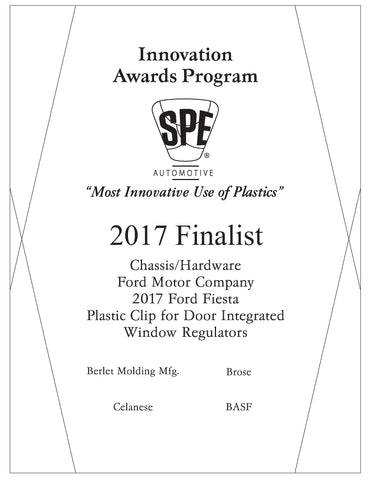 27 Chassis/Hardware: Plastic Clip for Door Integrated Window Regulators - 2017 Finalist