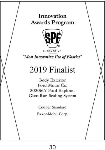 30 Body Exterior:  Glass Run Sealing System - 2019 Category Finalist