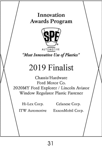 31 Chassis/Hardware:  Window Regulator Plastic Fastener - 2019 Finalist