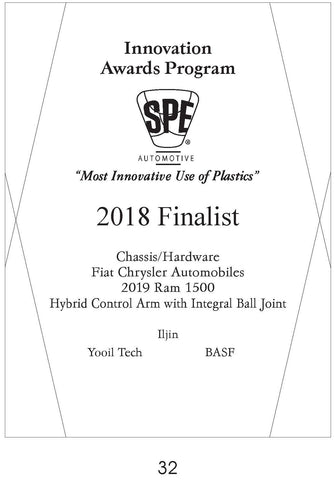 32 Chassis Hardware:  Hybrid Control Arm with Integral Ball Joint - 2018 Finalist