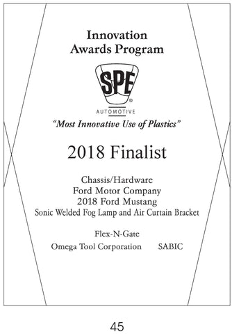 45 Chassis/Hardware:  Sonic Welded Fog Lamp and Air Curtain Bracket - 2018 Finalist