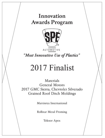 51 Materials: Grained Roof Ditch Moldings - 2017 Finalist