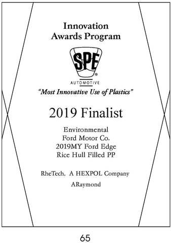65 Environmental: Rice Hull Filled PP - 2019 Finalist
