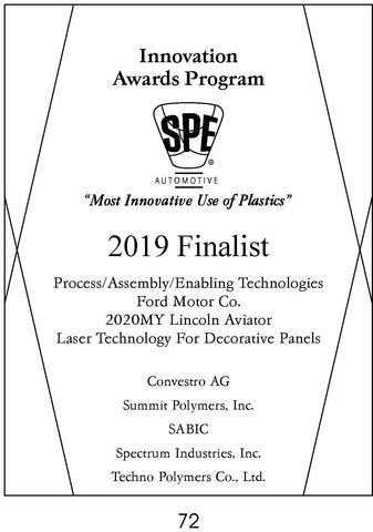 72 Process/Assembly/Enabling Technologies:  Laser Technology for Decorative Panels - 2019 Finalist