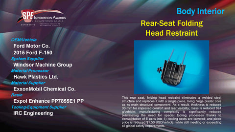 BI Rear Seat Foling head Restraint - 2015 Display Plaque