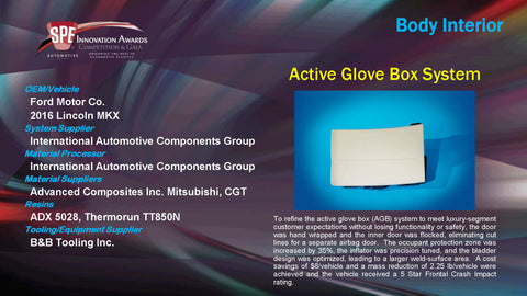 BI Active Glove Box System - 2015 Display Plaque