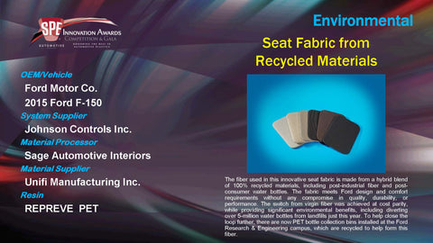 EN Seat Fabric from Recycled Materials - 2015 Display Plaque