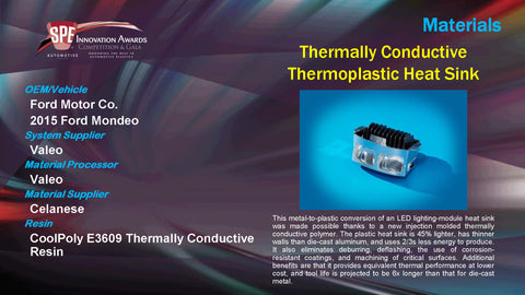 MA Thermally Conductive Thermoplastic Heat Sink - 2015 Display Plaque