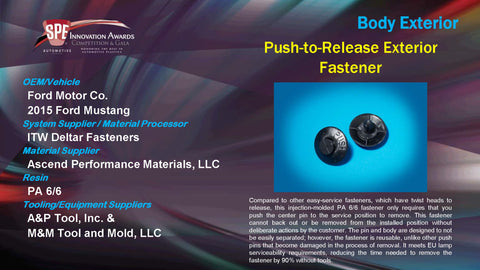 BE Push-to-Release Exterior Fastener - 2015 Display Plaque