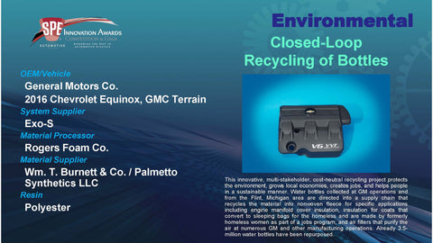EV:  Closed Loop Recycling of Bottles - 2016 Display Plaque