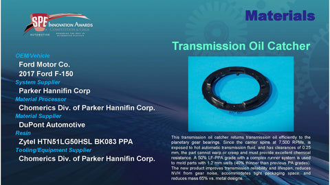 MT:  Transmission Oil Catcher in Long Glass Reinforced Polymer - 2016 Display Plaque