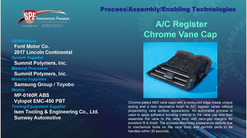PAET:  A/C Register Chrome Vane Cap - 2016 Display Plaque