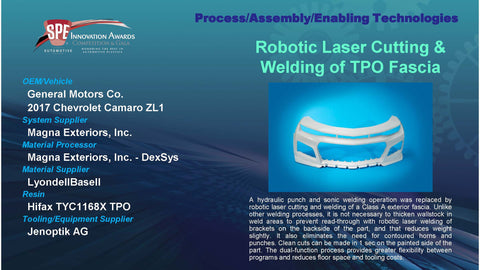 PAET:  Robotic Laser Cutting & Welding of TPO Fascia - 2016 Display Plaque